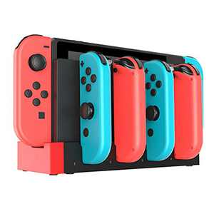 Soyan Charging Dock Compatible with Nintendo Switch Joy-Cons, Charges 4 Joy-Con Controllers Simultaneously (Black/Red)