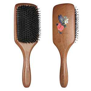 Hair Brush, BESTOOL Boar Bristle Hair Brush with Nylon Pin, Everyday Hair Brushes for Women, Men or Kids with Thin to Thick Curly Hair, Hairbrush for Detangling, Defrizz, Distribute Oil (Paddle)