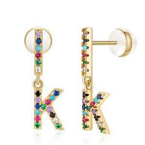 K Initial Earrings, Alphabet Earrings for Girls Letter Earrings for Kids Pierced Earrings for Young Girls Initial Stud Earrings