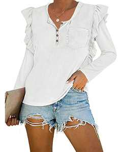 Valphsio Womens Long Sleeve Henley Shirts 1/4 Button Ruffle Tops with Pocket White