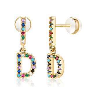 D Initial Earrings, Letter Stud Earrings Alphabet Earrings for Girls 14K Gold Plated CZ Alphabet Letter Earrings Initial Earrings for Girls Bar D Initial Earrings