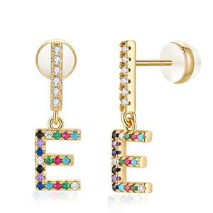 E Initial Stud Earrings for Girls Monogram Earrings for Women 14K Gold Plated CZ Alphabet Letter Earrings Initial Earrings for Girls Bar E Initial Earrings