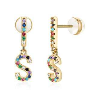S Initial Stud Earrings for Women Monogram Earrings for Women 14K Gold Plated CZ Alphabet Letter Earrings Initial Earrings for Girls Bar S Initial Earrings