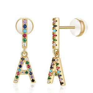 Letter A Earrings, Bar Initial Stud Earrings Alphabet Earrings for Kids Girls14K Gold Plated Initial Earrings for Girls
