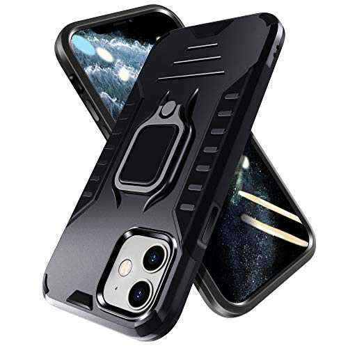 PUNYTONCY Compatible with iPhone 11 Case, Ring Kickstand Phone Protective Case Design, Drop Tested Anti-Scratch Shockproof Bumper Cover with Stand Metal Plate to Car Mount (Black 6.1-Inch)