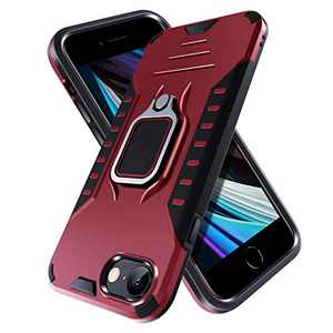 PUNYTONCY Compatible with iPhone SE 2nd 2020 Case, Ring Kickstand Phone Protective Case Design, Drop Tested Anti-Scratch Shockproof Bumper Cover with Stand Metal Plate to Car Mount (Red-4.7 Inch)