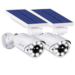 A-ZONE L10 Solar Motion Sensor Light Outdoor - 800Lumens 8 LED Solar Security Lights 5-Watt IP66 Waterproof, Wireless Solar Flood Light for Porch Garden Patio Driveway Pathway,2 Pack