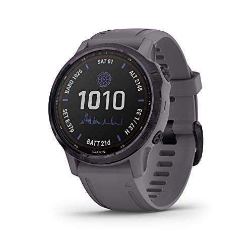 Garmin fenix 6s Pro Solar, Smaller-Sized Solar-Powered Multisport GPS Watch, Advanced Training Features and Data, Amethyst Steel
