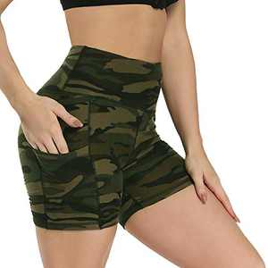 "Fotociti Yoga Shorts for Women – 5"" High Waisted Biker Shorts with Pockets for Workout, Training, Running Camo"
