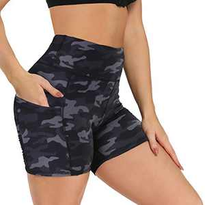 "Fotociti Yoga Shorts for Women – 5"" High Waisted Biker Shorts with Pockets for Workout, Training, Running"