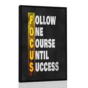 """Framed Inspirational Wall Art Posters for Home Office, College Dorm, Motivational Quote Decor Canvas, Encouraging Positive Growth Mindset Quotes for Classroom (17""""H x 11""""W, Focus Vertical)"""