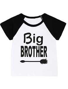 Aslaylme Little Boys Big Brother T-Shirt Kids Funny Tops (Black02,6T)
