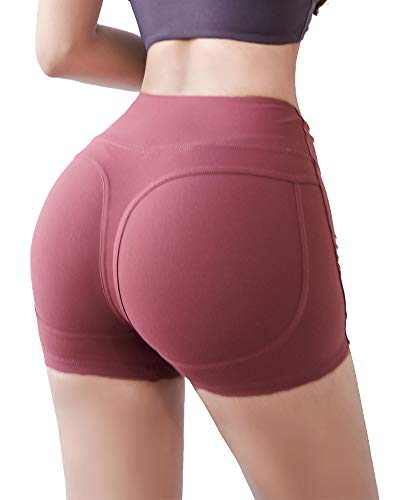 LAKOSMO Women High Waisted Yoga Shorts Sports Gym Ruched Butt Lifting Workout Running Hot Pants