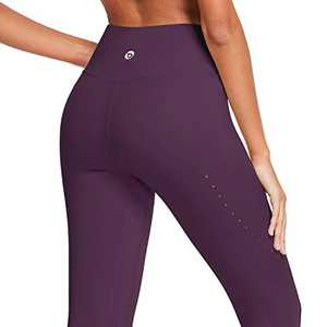 BALEAF High Waisted Yoga Pants for Women Air Hole Buttery Soft Workout Leggings 7/8 Length Tummy Control Running Tights Dark Magenta Size M