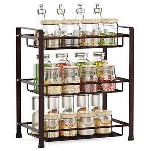 Spice Rack, Veckle 3 Tier Kitchen Bathroom Counter Rack Desktop Organizer Pantry Shelf Multipurpose Storage Standing Rack, Bronze