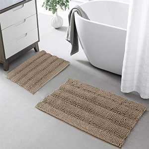 "KGORGE Non-Slip Bath Mats - Bathroom Rugs and Mats Sets Absorbent Super Soft Microfiber Chenile Floor Carpet for Tub Kitchen, Taupe, 20"" x 32"" + 17"" x 24"", 2 Pcs"