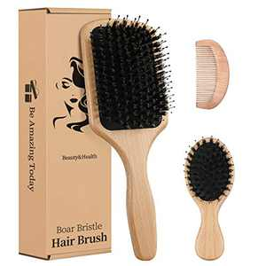 Boar Bristle Hair Brush for Women Kids 4PCs Gift set, Paddle Hairbrush Beech Designed for Curly Thick Wavy Dry Long Straight Hair , Massage Scalp, Makes Hair Shiny & Health