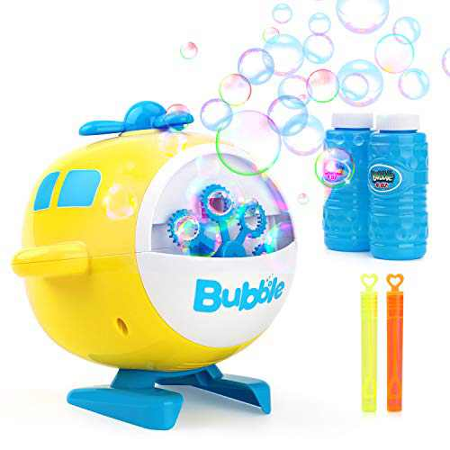 Maxee Bubble Machine Bubble Machine for Kids Automatic Bubble Machine Airplane Helicopter with 2 Refill Solution & 2 Bubble Wand Giant Bubbles for Kids Toddlers Toys Outdoor Toys for Christmas