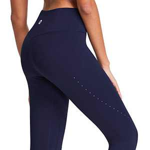 BALEAF High Waisted Yoga Pants for Women Air Hole Buttery Soft Workout Leggings 7/8 Length Tummy Control Running Tights Navy Size S
