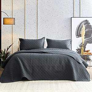 Western Home Quilt Set Full/Queen Size (90x96, Black), Lightweight Reversible Bedspread with Basket Pattern Coverlet, Soft Microfiber Warm Bed Cover for All Season - 3 Pieces(1 Quilt,2 Shams)