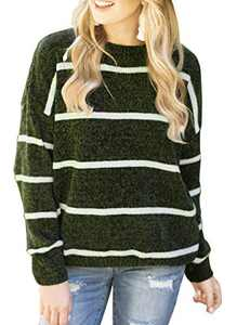 Cogild Pullover Sweaters for Women, Crewneck Long-Sleeve Striped Women's Sweater, Loose Casual Lightweight Knit Pullover Jumper Tops Dark Green
