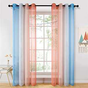 YOKISTG Ombre Sheer Curtains 96 Inches Long Blue Orange Gradient Faux Linen Sheer Drapes for Bedroom Living Room, 2 Panels