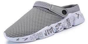 Sooneeya Women's Garden Clogs Anti-Slip Beach Sandals Slip on Massage Outdoor Walking Shoes Summer Slippers for Women Grey Size Women 8.5 Men 7