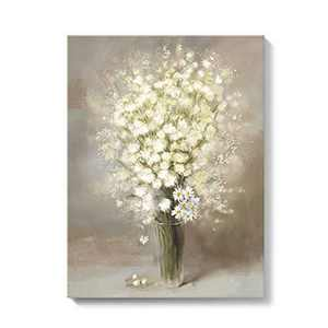 Talesay Daisy Canvas Wall Art Prints Abstract Flower Oil Painting Rustic Floral Artwork Brown Framed Home Wall Decor for Bathroom Bedroom Living Room 12x16 Inch