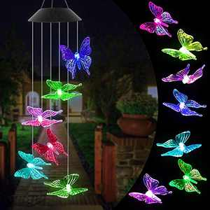 Ronzhy Solar Butterfly Wind Chime, Color Changing Wind Chimes Outdoor Waterproof Mobile LED Solar Wind Chimes Unique Outdoor Decor for Yard, Patio, Garden, Home, Indoor, Festival