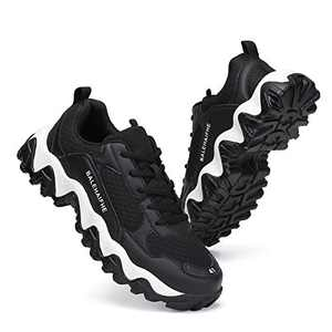 Sanearde Walking Shoes Mens Fashion Sneakers Breathable Sport Athletic Casual Shoes for Men 8900heise45 Black