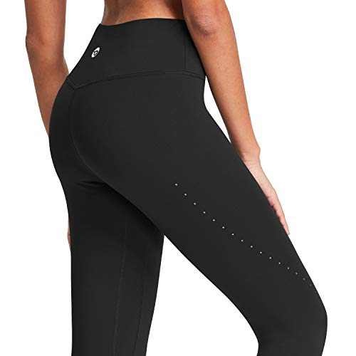 BALEAF High Waisted Yoga Pants for Women Air Hole Buttery Soft Workout Leggings 7/8 Length Tummy Control Running Tights Black Size L
