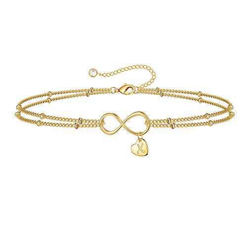 IEFSHINY Gold Tiny Dainty Bracelets for Women, Infinity Initial Bracelets Heart X Charm Bracelets Initial Bracelets for Women Letter Bracelet byqone Love Bracelet Valentine Gifts for Wife Girlfriend