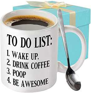 To Do List Wake Up Drink Coffee Poop Be Awesome Large Funny Coffee Mug Large Motivational Fun Gifts Gag Xmas Birthday White Elephant Present Idea for Friends Novelty Mug Gift with Spoon for Men Women