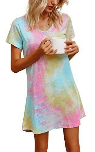 Banamic Womens Nightgowns Short Sleeve Sleepwear Night Dress Cute Nightgowns Pink