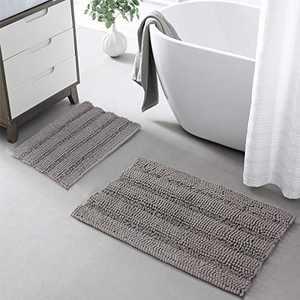 KGORGE Grey Bathroom Rugs Set - Non-Slip Soft Chenille Bath Mat Absorbent Machine Washable Shaggy Shower Mat for Tub Kitchen Entryway, 20 x 32 + 17 x 24, 2 Pieces