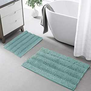 KGORGE Turquoize Bathroom Rugs - Slip Resistant Absorbent Shaggy Shower Rug Washable Soft Bathtub Set for Kitchen Laundry Room, Eggshell Blue, 20 x 32 + 17 x 24, 2 Pcs