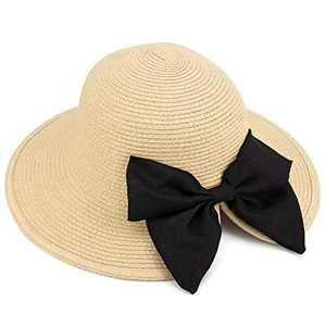 Sowift Women Sun Hats Floppy Summer Sun Beach Straw Hat UPF50 Foldable with Bowknot Beige