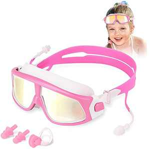 WOTEK Swimming Goggles Anti-Fog No Leaking Goggles Kids Swimming UV Protection with Earplugs and Nose Clip Clear Kids Goggles Swimming Goggles Kids(Age 5-15)