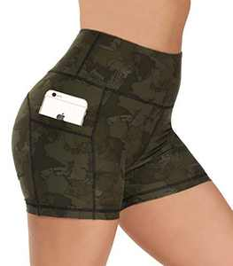 """Opuntia Biker Shorts for Women with Pockets - 8""""/4"""" High Waisted Compression Workout Shorts for Exercise Yoga Running Cycling"""