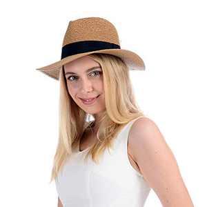 Sowift Panama Straw Braid Hats Womens Sun Hats Packable Summer Beach Cap Fedora UPF 50+ Protection Women Men