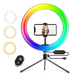 Yesker RGB Ring Light 10 Inch LED Ringlight with Brightness Dimmable 7 RGB Colors with Desktop Tripod Stand and Cell Phone Holder for Video Recording, Makeup, Zoom, Live Stream, Photography