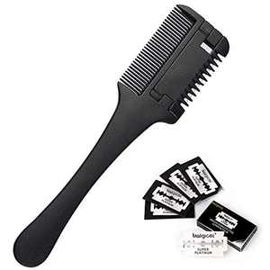 Hair Razor Comb, Hair Comb for Trimming with Removable Double Edge Razor Blades Professional For Hair Thinning & Hair Shaping, Home & Salon Use, 5 Extra Blades Included