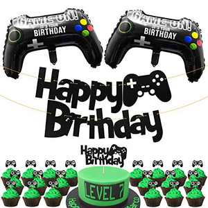 PANTIDE 25Pcs Video Game Birthday Party Decorations, Game On Birthday Party Supplies for Boys – Game Controller Foil Balloons, Gaming Glittery Happy Birthday Banner, Shiny Cake Topper, Cupcake Toppers