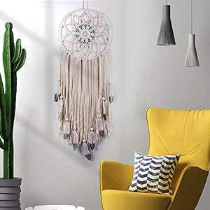 O-heart Large Boho Dream Catcher, Macrame Dream Catcher Wall Decor with Feather Leaf and Bead, Bohemian Wall Hanging Ornament for Home Baby Nursery Decoration Craft Gift Farmhouse Home Decor