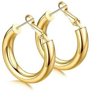 MERUNOW 14K Gold Plated Thick Lightweight Hoop Earrings, Chunky Gold Hoops Earrings for Women