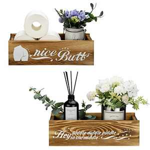 Nice Butt Bathroom Décor Box, Toilet Paper Holder with 2 Sides Funny Sayings, Wooden Rustic Home Décor Box for Bathroom Storage, Farm house Decor Solid Wood over Sink Countertop Table Organizer