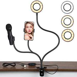 Selfie ring light clip on with Microphone Stand and phone holder, DecRose Led Video Lighting Kits for Live Stream Makeup Tiktok Youtube Recording Online Course iphone camera stand