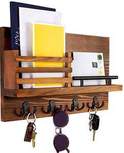 Ripple Creek Key Holder For Wall and Mail Shelf - Unique Hanging Organizer for Organized House, Entryway, Hallway, Office - Easy to Hang Decorative Storage, Sorter, Display - Industrial-Quality Design