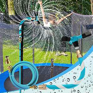 AOJI Trampoline Sprinkler for Kids Backyard Water Park WaterWhirl Outdoor Game Toys Adjustable Summer Toys Accessories Included Tool Free (Blue)