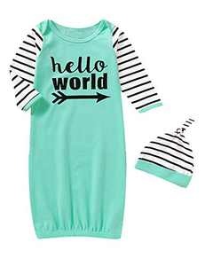 Dramiposs Baby Boys Hello World Sleepwear Newborn Cute Stripe Outfit with Hat (Green02,0-3 Months)